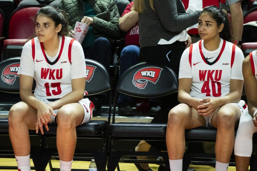 WKU forward Raneem Elgedawy (15) and guard Meral Abdelgawad (40) await their names to be called in player introductions. The Lady Toppers defeated the CMU Chippewas 93 - 58 in Diddle Arena on Sunday, November 17 2019.