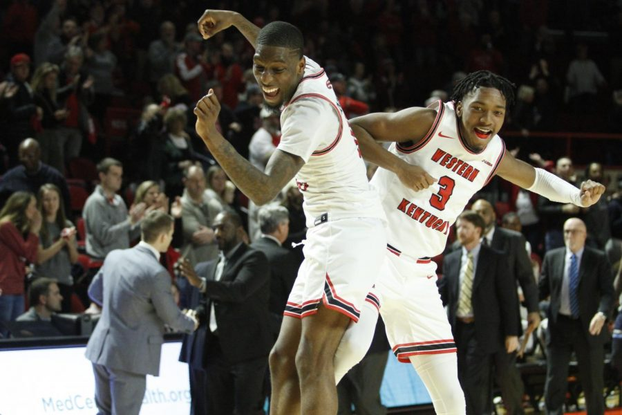 Junior+guard+Taveion+Hollingsworth+%28left%29+celebrates+with+freshman+guard+Jordan+Rawls+%28right%29+following+the+WKU+Hilltoppers+71-69+comeback+win+over+the+Old+Dominion+Monarchs+on+Thursday%2C+Jan.+16+in+Diddle+Arena.