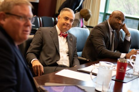 President Timothy Caboni listens during the Board of Regents meeting on April 12, 2019. The Board of Regents discussed future budget cuts during its meeting on Friday.