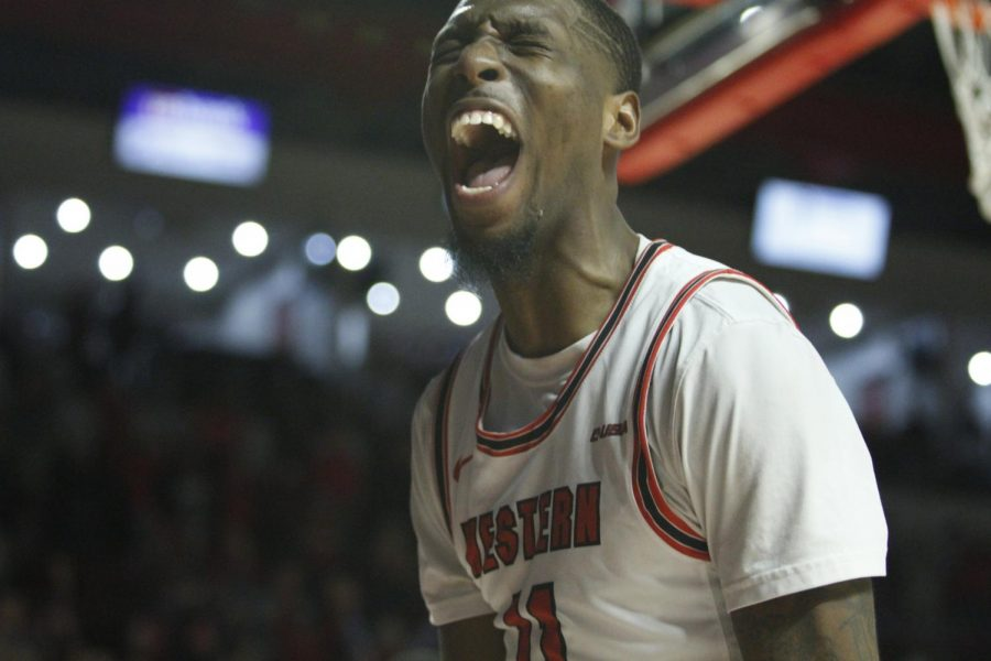 Junior+guard+Taveion+Hollingsworth+%2811%29+celebrates+following+a+made+shot+during+the+WKU+Hilltoppers%27+71-69+comeback+win+over+the+Old+Dominion+Monarchs+on+Thursday%2C+Jan.+16+in+Diddle+Arena.