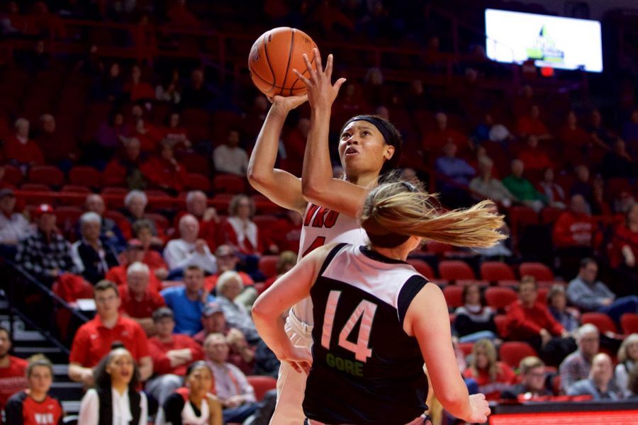 Redshirt junior guard Dee Givens takes a shot during the Lady Toppers' 85-55 victory over Marshall at Diddle Arena on Saturday.