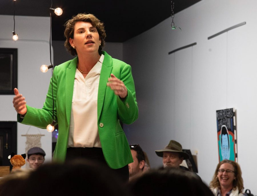 Amy+McGrath%2C+Democratic+challenger+to+Senator+Mitch+McConnell%2C+made+a+campaign+stop+in+Bowling+Green+Monday+night+at+Little+Fox+Bakery.+McGrath+spoke+about+issues+important+to+Kentuckians.