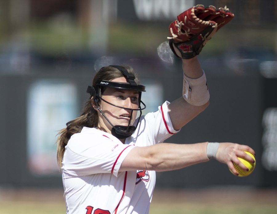 Junior Pitcher Kelsey Aikey pitches during WKU's game against Charlotte at the WKU Softball Complex beginning March 23 in Bowling Green.