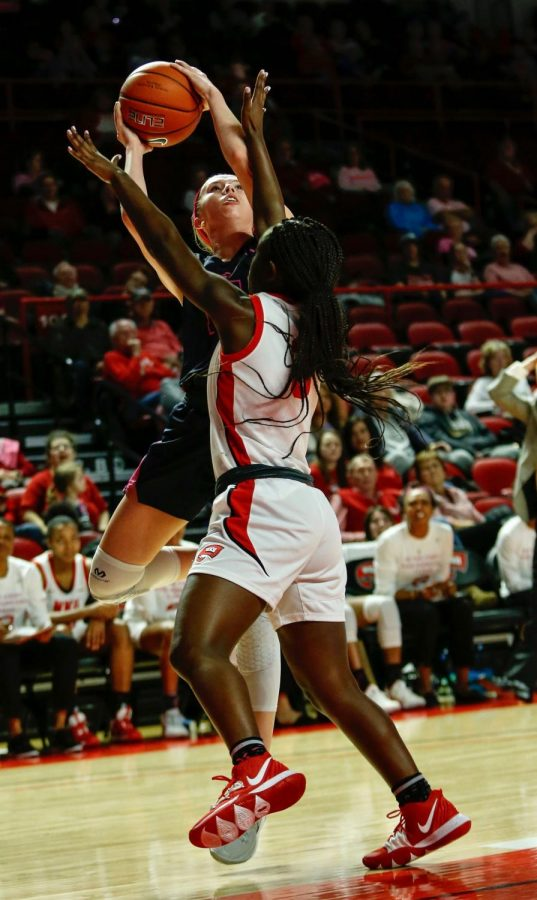 WKU guard DeMyla Brown (3) defends Miner guard Avery Crouse (15) during the womens basketball game against UTEP on Thursday, Feb. 13.