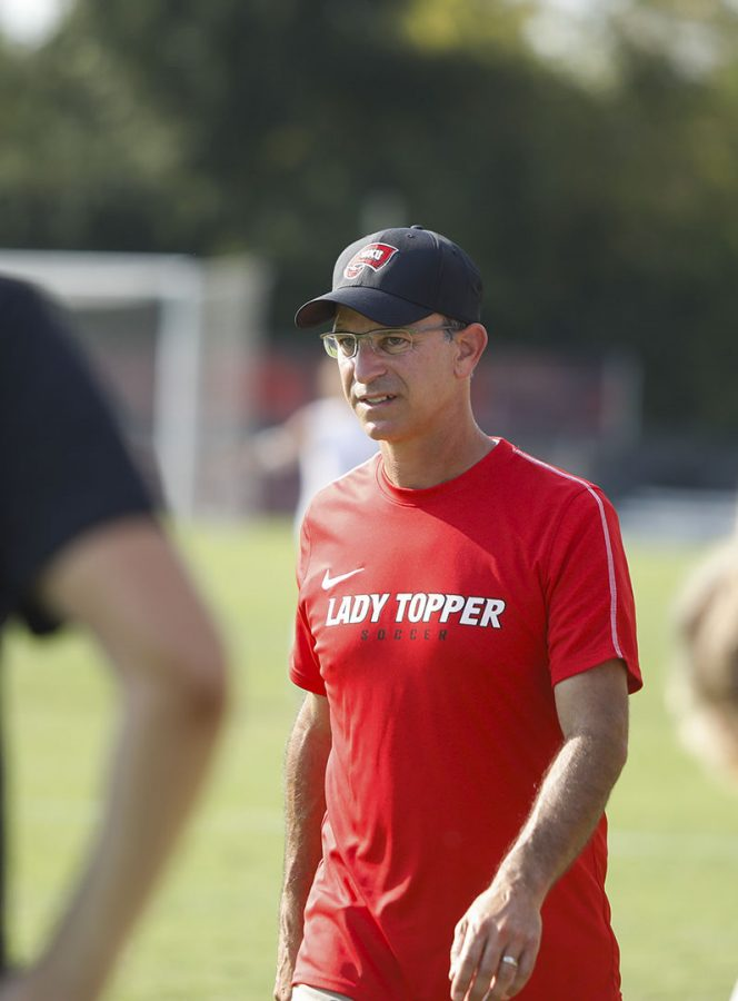 WKU+womens+soccer+head+coach+Jason+Neidell+walks+towards+a+Lady+Topper+reserve+to+give+her+directions+in+the+second+half+of+overtime+during+a+game+at+the+WKU+Soccer+Complex+on+Sunday%2C+Sept.+29%2C+2019.