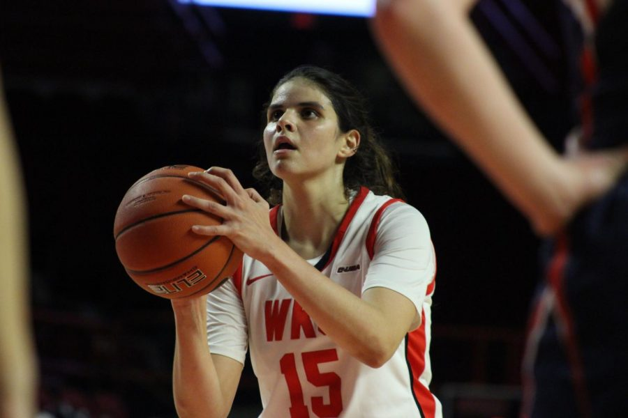 Junior forward Raneem Elgedawy (15) attempts a free throw during the Lady Toppers' game against Belmont in Diddle Arena on Wednesday, Nov. 13 in Bowling Green.