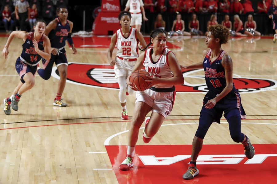 Sophomore guard Meral Abdelgawad drives towards the baskets during the Lady Toppers' 68-59 win over Florida Atlantic in Diddle Arena on Thursday, Jan. 30 in Bowling Green.