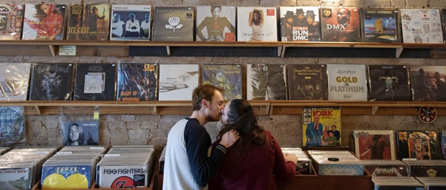 """Julie Sisler, Herald features editor, met her boyfriend Jake Donohue on Tinder. """"We went on a coffee date and then I showed him a record shop I love,"""" Sisler said. """"We spent hours talking about music and movies and going off on random little tangents. It felt so natural to be with him."""""""