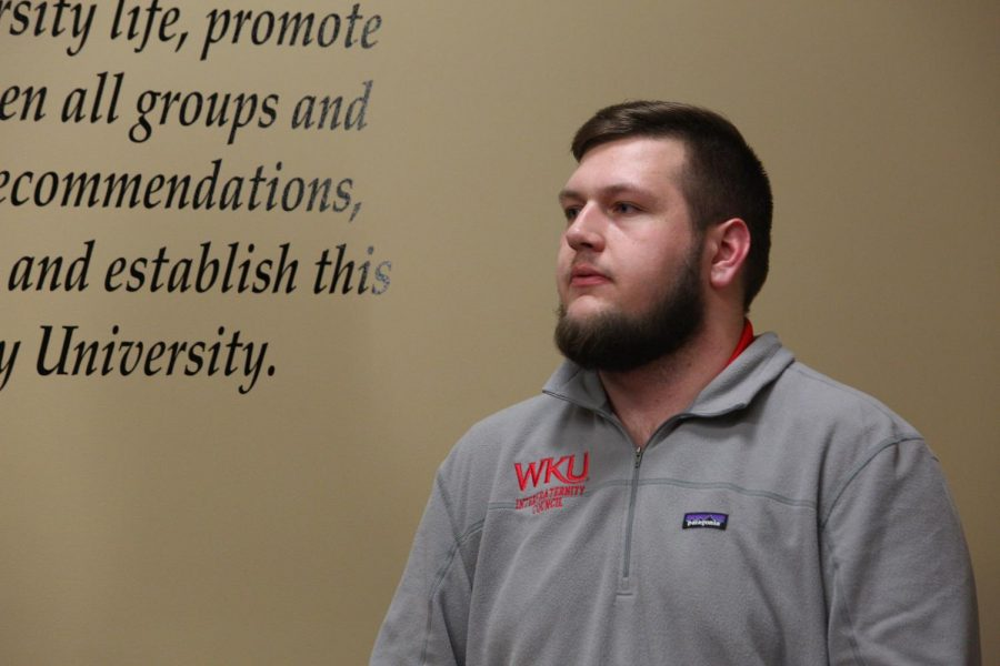Student Body President Will Harris speaks during the SGA meeting on Tuesday, Feb. 4.