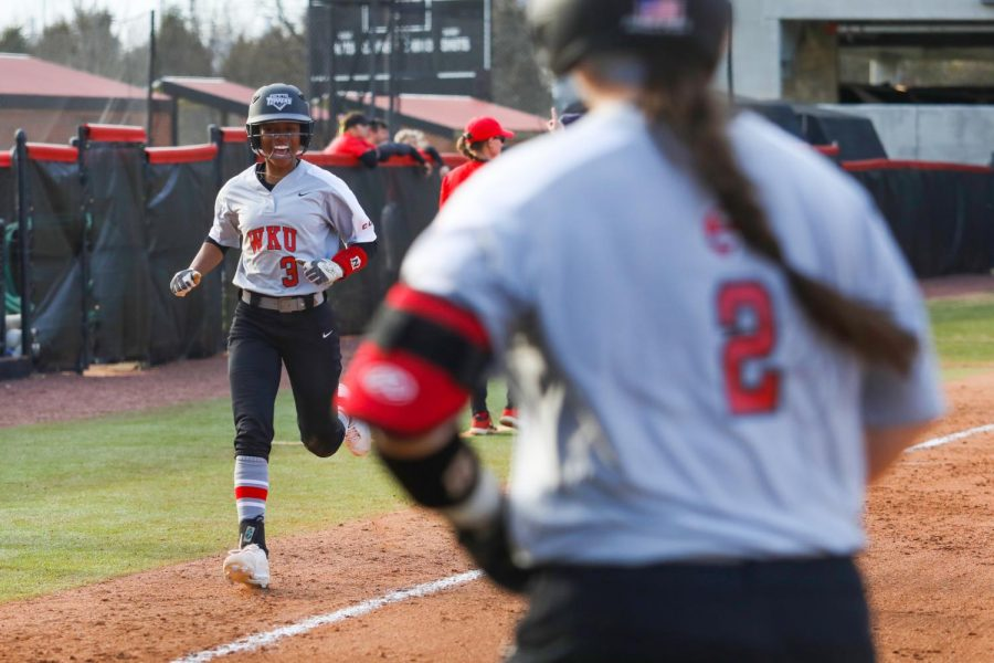 WKU short stop TJ Webster runs down the 3rd baseline to score the 11th run of the game. WKU defeated ISU 12-1 in the championship round of the spring fling tournament on March 1, 2020 at WKU Softball Complex.
