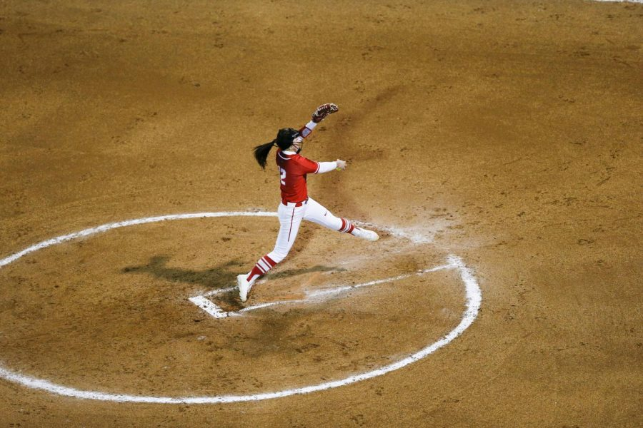 WKU's Kelsey Aikey pitches in the first inning versus Austin Peay on Friday. Kennedy Sullivan also pitched during the game, the two allowing only 7 hits by Austin Peay.