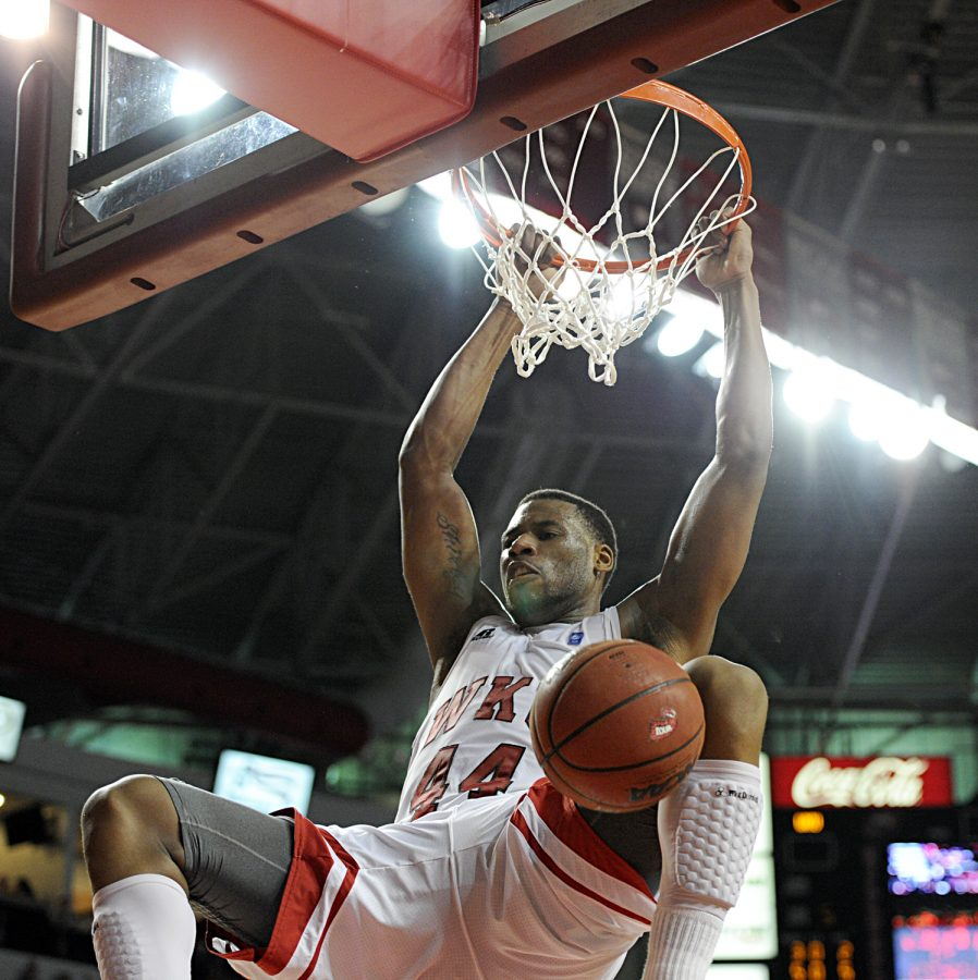 George Fant dunks during the first half of WKUs win over Arkansas State Thursday night. Fant led the team with 19 points and 4 rebounds but it was T.J. Price who knocked down the winning three pointer with 2.9 seconds left to give WKU a 79-76 victory.