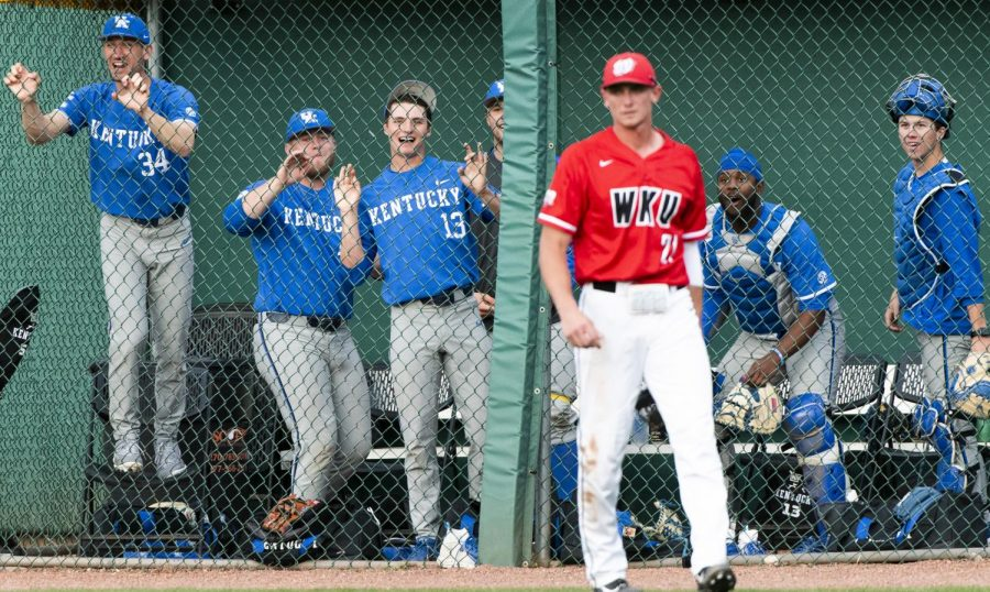 The Kentucky bullpen cheers after a home run against WKU on April 23 in Bowling Green Ballpark. UK won the game 15-4.