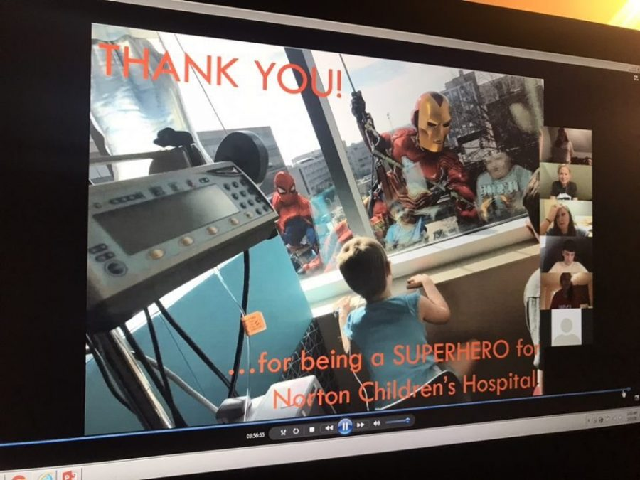 A screenshot from Dance Big Red's virtual event shows members watching a video on Norton Children's hospital via Zoom. The event was moved online due to coronavirus.