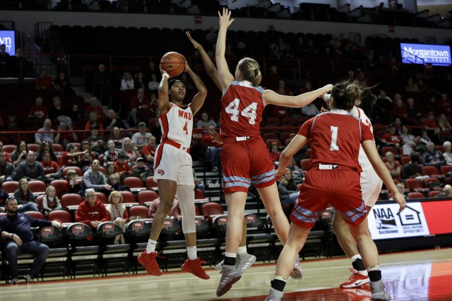WKU+redshirt+senior+forward+Dee+Givens+%284%29+puts+up+a+shot+as+LA+Tech+freshman+forward+Anna+Larr+Roberson+%2844%29+attempts+to+block+her+during+the+WKU+women%27s+basketball+game+against+LA+Tech+on+March+7%2C+2020%2C+in+Diddle+Arena.