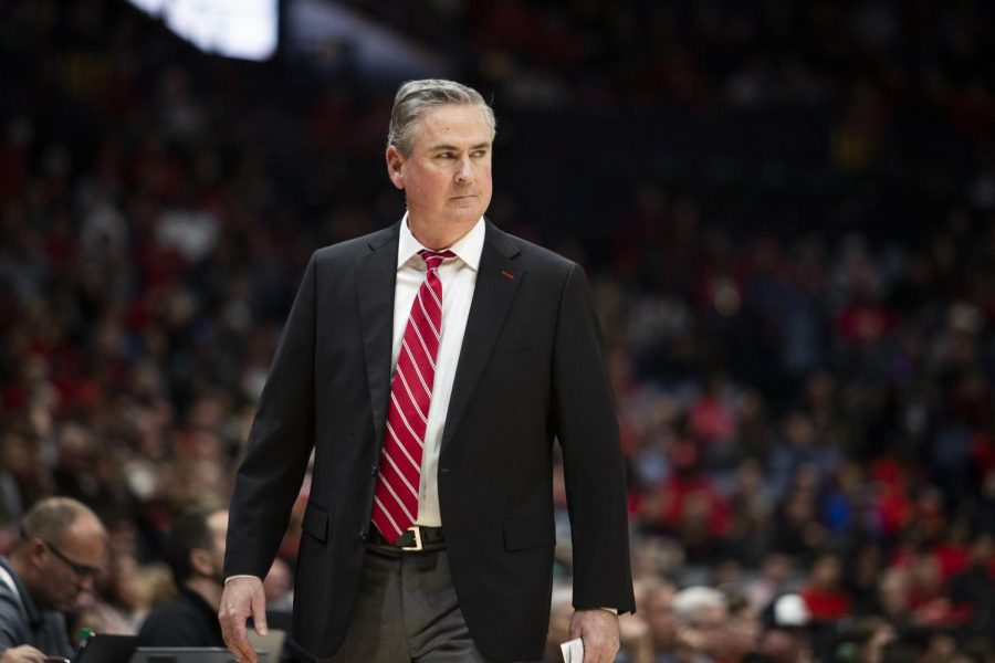 WKU coach Rick Stansbury glares at the referee after a called travel was called on WKU. Louisville defeated the Hilltoppers 71-54 in Bridgestone Arena on Sunday, Nov. 17 2019, in Nashville.