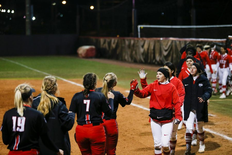 Players shake hands after WKU's comeback victory over Austin Peay. WKU defeated Austin Peay 8-4.
