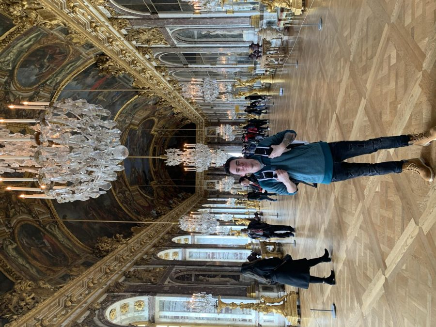 Nicholas Barth, a WKU sophomore and study abroad student stands in the Hall of Mirrors at the Palace of Versailles located in Versailles, France on Feb. 22, 2020. The Hall of Mirrors is the central gallery located in the Palace, a widely-known tourist attraction.