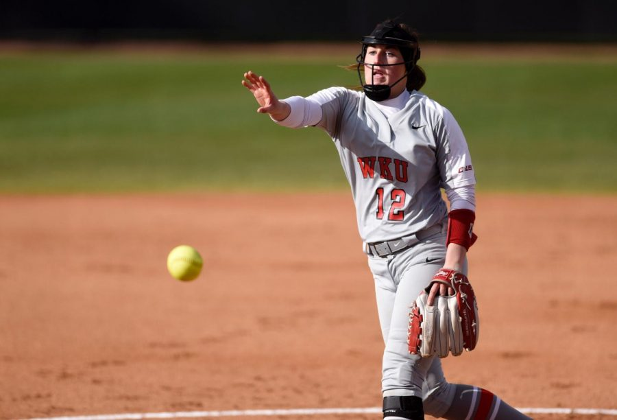 WKU+pitcher+Kelsey+Aikey+%2812%29+pitches+to+MTSU+during+the+WKU+v+MTSU+softball+game+on+Mar.+6%2C+2020+at+the+WKU+Softball+Complex.+The+Hilltoppers+won+3-1.