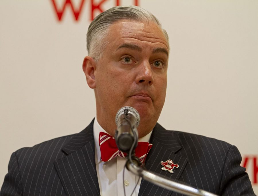 WKU President Timothy Caboni announced a change in university operation due to coronavirus in a March 11 press conference. WKU will extend spring break by one week and then transition to two weeks of online-only classes.