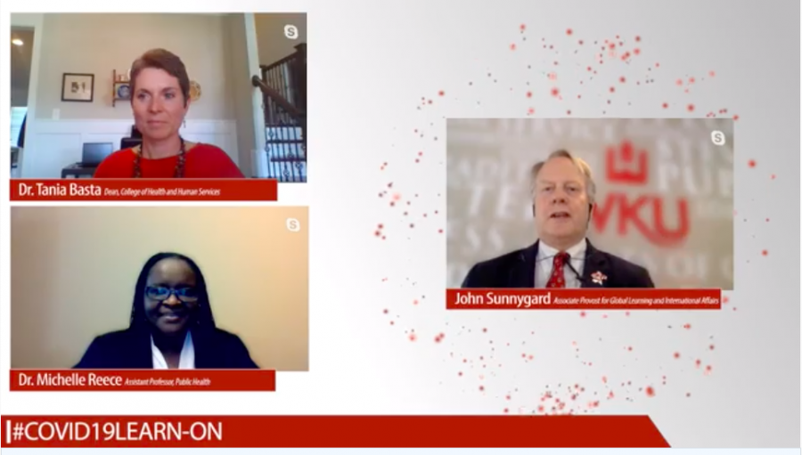 Dr. Tania Basta, Dr. Michelle Reece and John Sunnygard speak to participants of the WKU COVID-19 Learn-On Public Health Webinar on April 9.