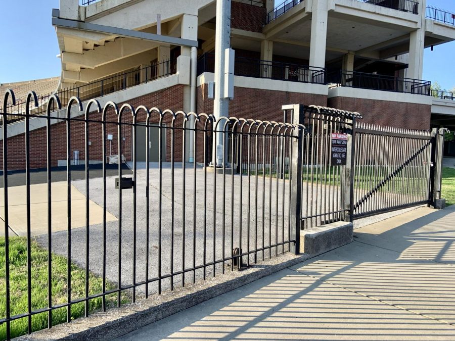 The+gate+to+the+main+field+at+Houchens-Smith+Stadium+protects+intruders+from+entering+the+facility+during+th+COVID-19+pandemic+on+Sunday%2C+April+5%2C+2020.+Former+WKU+Head+Athletic+Trainer%C2%A0Bill+Edwards+said+he+remembers+%22a+Sheriff%E2%80%99s+car+pulled+into+the+gate%22+to+arrest+Russian+Czars+head+coach+Eldon+Cunningham.