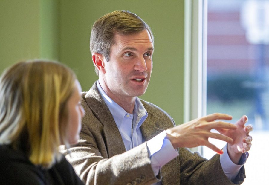 Kentucky Attorney General Andy Beshear met with editors and reporters from the College Heights Herald on Thursday afternoon to discuss topics ranging from lawsuits to Beshear's campaign promises for running for state governor.