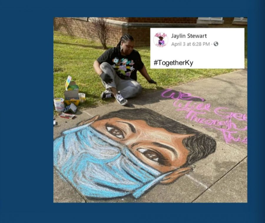 """Gov. Beshear said social media has been filled with positivity and mentioned this Facebook post showing Louisville artist Jaylin Stewart posing next to her chalk art depicting a healthcare worker, with the sentence """"We will get through this together."""