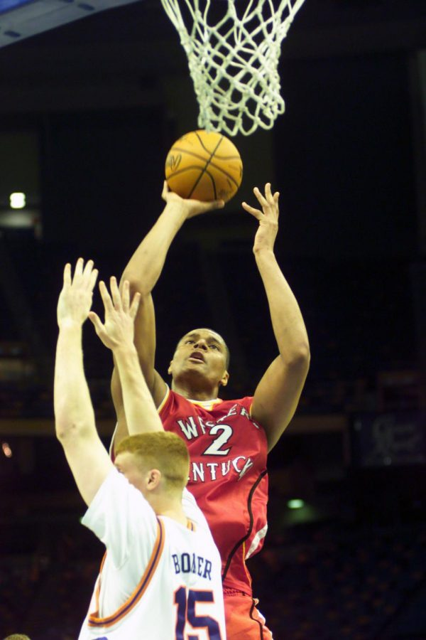 WKU mens basketball center Chris Marcus (2) goes up for a shot against the Florida Gators in South Regional opening-round action of the 2001 NCAA National Championship Tournament on March 16, 2001 in New Orleans.