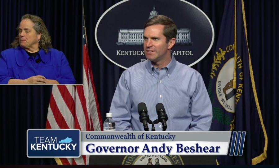Gov. Andy Beshear during a daily coronavirus update on April 1.