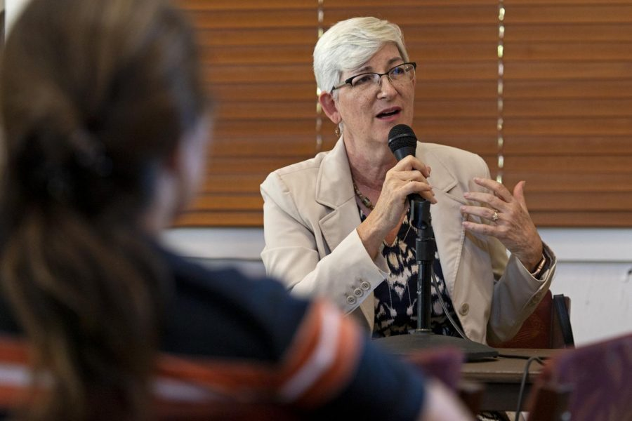 Provost Cheryl Davis fields questions from faculty members during the faculty senate meeting on Thursday afternoon. The provost discussed reallocation of money in the senate budget, representation of minority student populations and a state orchestrated program evaluation.