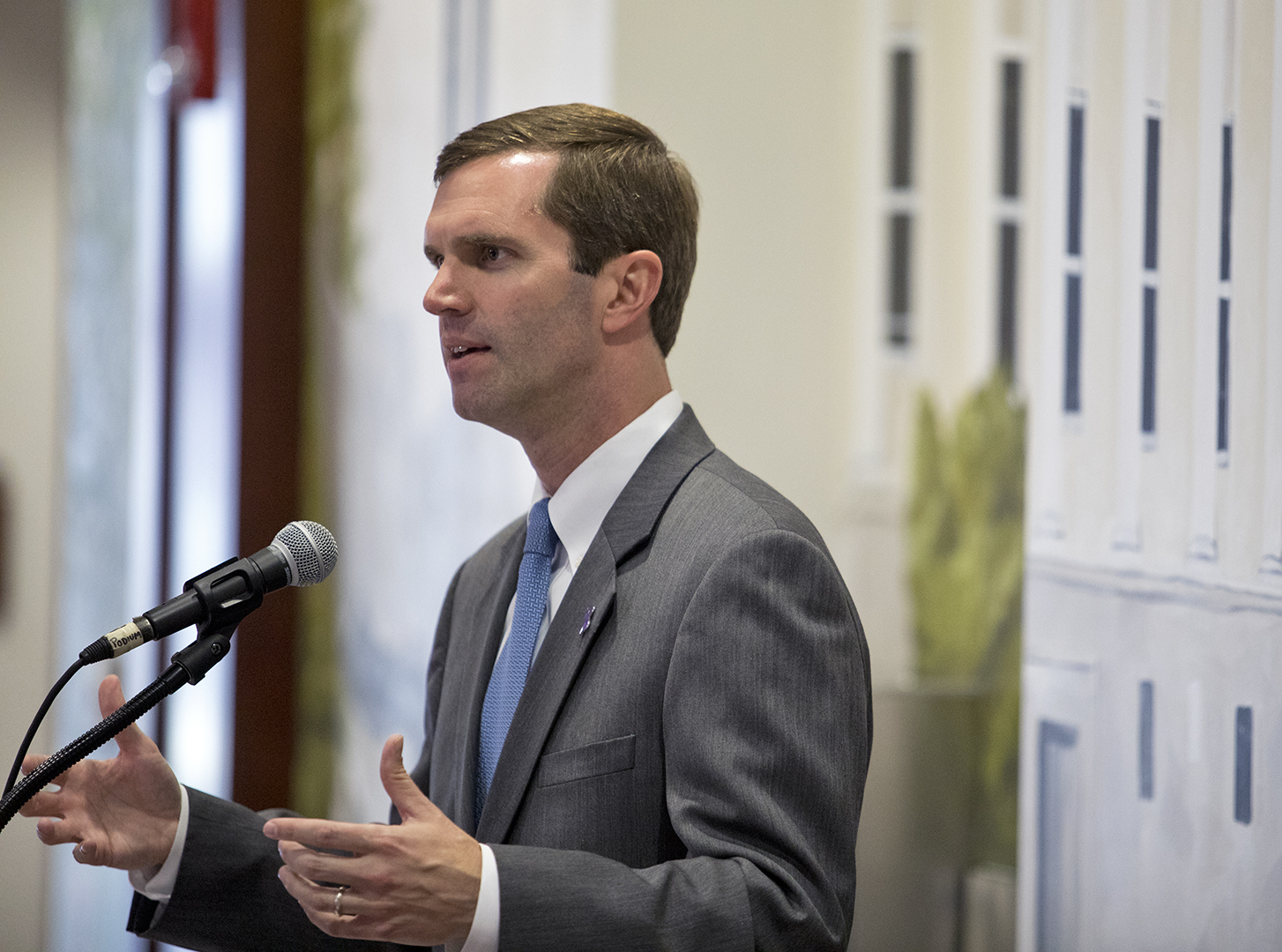 Attorney General Andy Beshear discusses how a community should remain safe by keeping violence out during the Proclamation Signing in the first floor of Downing Student Union on Oct. 09, in Bowling Green.
