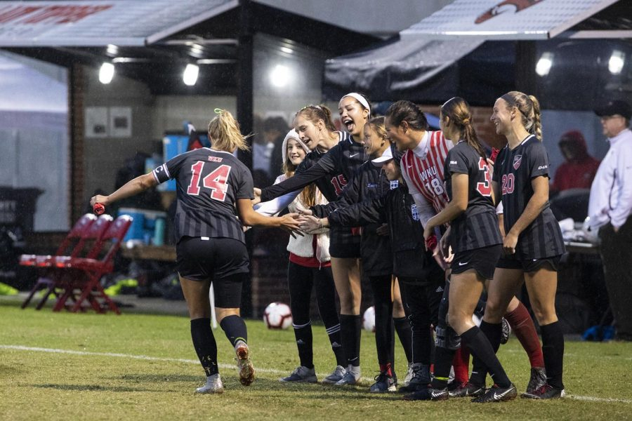 WKU+senior+Kaylyn+Bryant+%2814%29+takes+the+field+before+the+game+against+UAB+at+the+WKU+Soccer+Complex+on+Friday%2C+Aug+26%2C+2019.