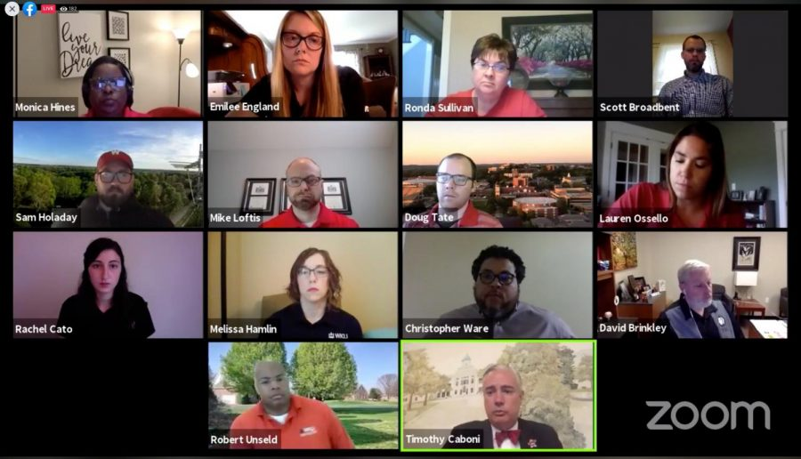 The Staff Senate held it's monthly meeting over Zoom o May 5. President Timothy Caboni presented an update and took questions from the staff.