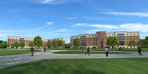 The First Year Village, shown in this rendering, is expected to be open by fall 2021. It will include living learning communities with pod-style living for groups of 25 students with shared interests.