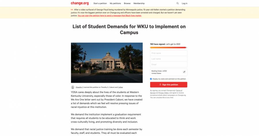 Screenshot of Petition Website