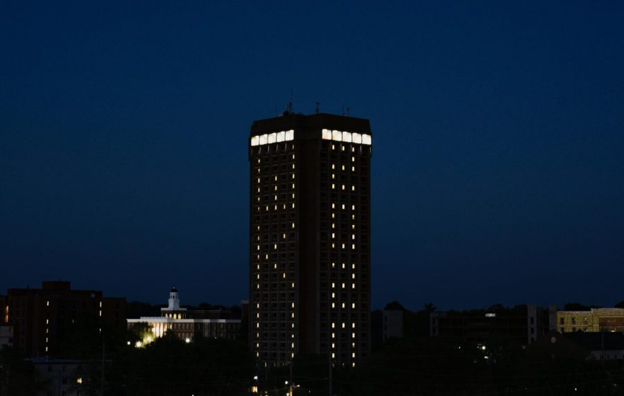 The rooms in Pearce-Ford Tower were lit up to honor WKU's class of 2020. Due to the coronavirus pandemic, commencement for WKU seniors was postponed until September.
