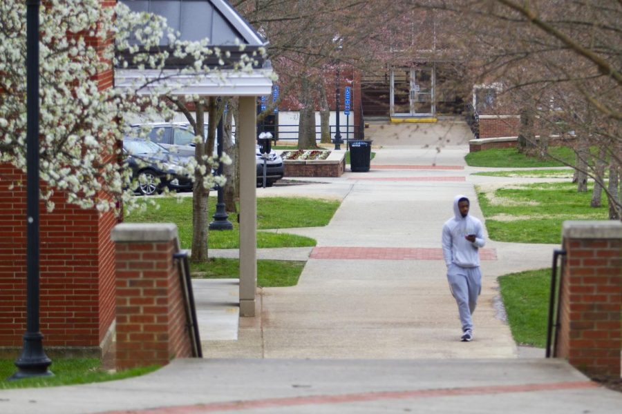 A+person+walks+the+WKU+campus+on+Monday%2C+March+16.