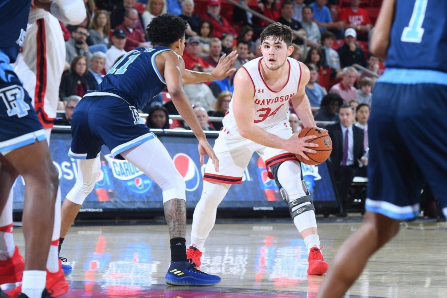 Guard Luke Frampton during a game against Rhode Island in A-10 men's basketball action at Belk Arena on Wednesday, February 06, 2019.