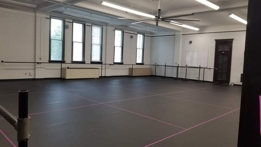 Photo of the newly renovated dance studio, via the WKU Department of Theatre and Dance's twitter