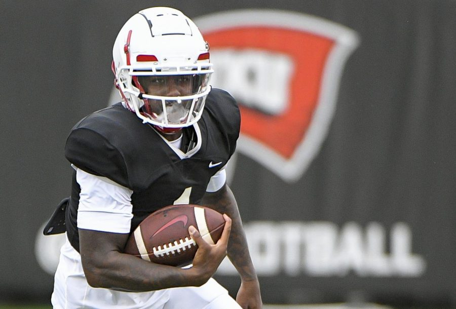 Western+Kentucky+Hilltoppers+quarterback+Tyrrell+Pigrome+at+WKU+Practice%2C+August+22%2C+2020+at+Houchens-Smith+Stadium