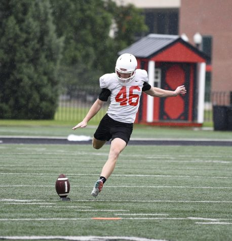 Sophomore kicker Cory Munson at WKU Football practice Aug. 21, 2020 in Houchens-Smith Stadium.