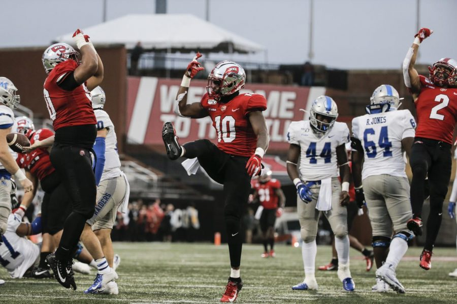 WKU junior defensive lineman Deangelo Malone (10) celebrates making a stop during the game against MTSU in L.T. Smith Stadium on Saturday, Nov. 30, 2019.
