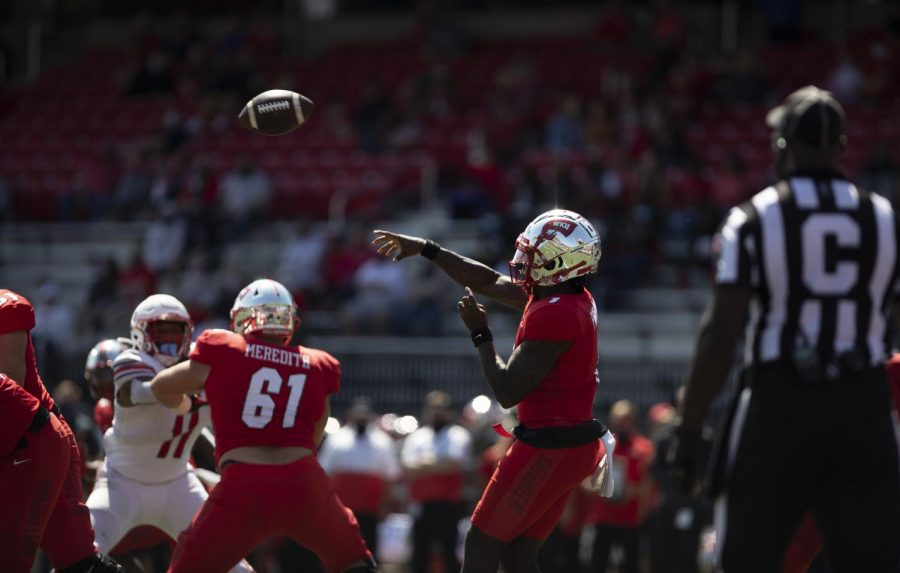 WKU Graduate quarterback Tyrrell Pigrome throws the ball during the Hilltoppers home opener on Sept. 19, 2020.