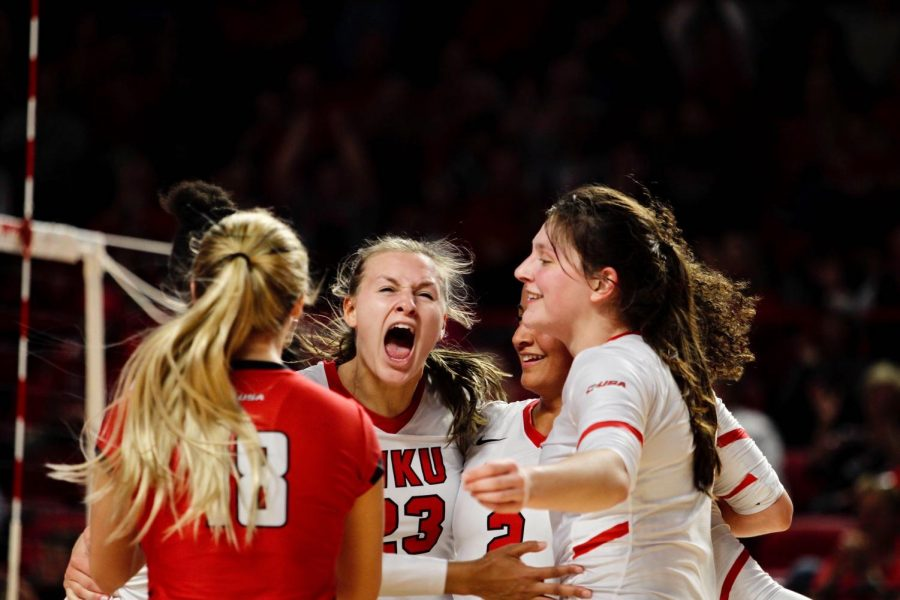 WKU+senior+Sophia+Cerino+%2823%29+cries+out+in+happiness+during+the+Lady+Toppers%27+NCAA+Volleyball+Tournament+Second+Round+match+against+Louisville+in+Diddle+Arena+on+Dec.+6%2C+2019.%C2%A0The+Lady+Toppers+fell+to+the+visiting+Cardinals%2C+3-2.