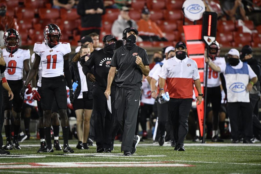 Western Kentucky University head coach Tyson Helton roams the sidelines at Cardinal Stadium on Sept. 12, 2020.