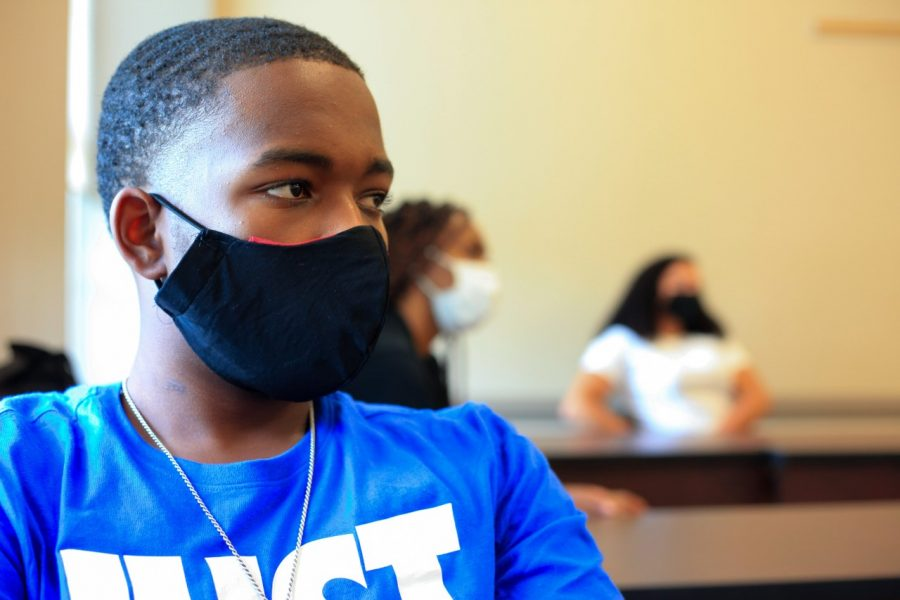 ISEC student wearing a face mask as the center kicks off the fall semester amid COVID-19.
