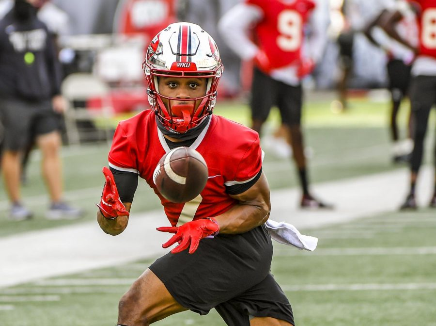 WKU+wide+receiver+Jahcour+Pearson+%287%29+Sept.+3%2C+2020+catching+a+pass+at+practice+in+Houchens-Smith+Stadium.