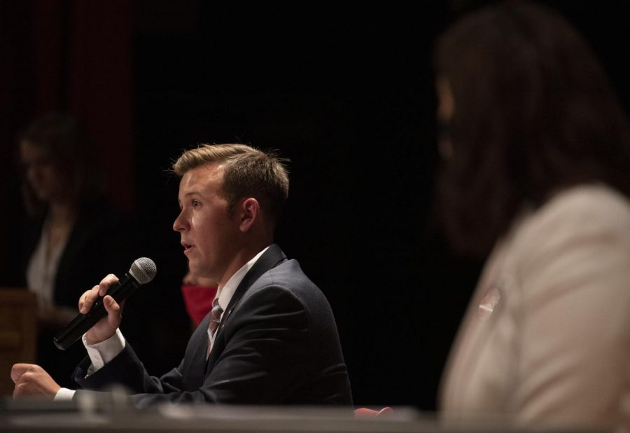 WKU%E2%80%99s+Student+Government+Association+participated+in+a+town+hall+debate+in+the+Downing+Student+Union+auditorium+on+the+night+of+Sept.+24.+Executive+Vice+President+Garrett+Edmonds+is+running+for+Student+Body+President+against+MJ+Mayo%2C+senator+for+Potter+College+of+Arts+and+Letters.+Abbey+Norvell+is+running+for+Administrative+Vice+President+alongside+Edmonds.