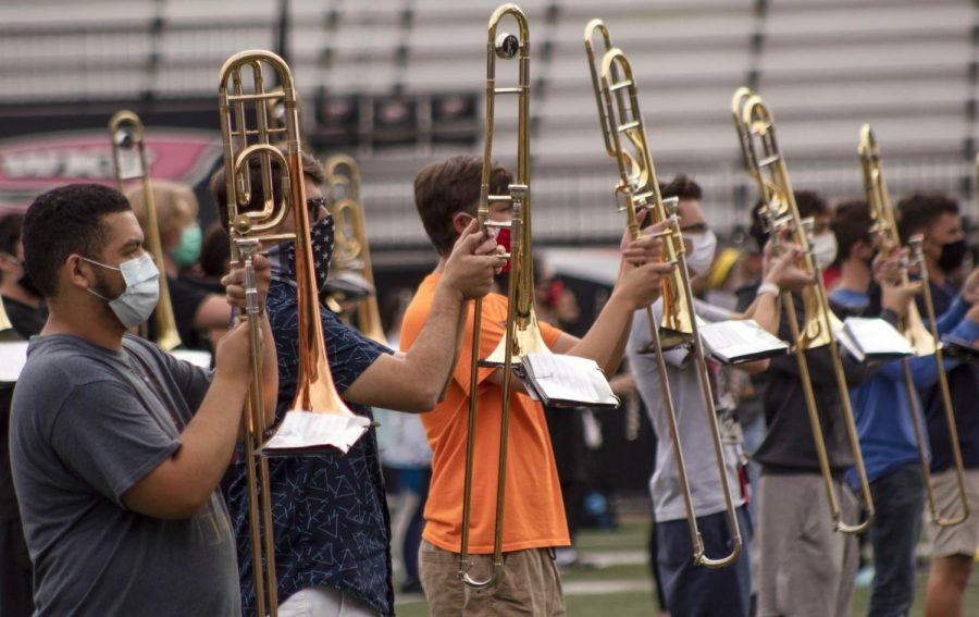 The Big Red Marching Band rehearses for an upcoming football game at the Houchens Industries L.T. Stadium on Friday, September 25th 2020.